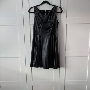 Faux Leather Little Black Dress
